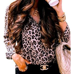 Ecowish Leopard Button Down Top Small